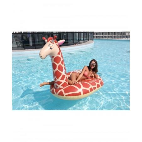 Bouée Gonflable XXL Chevauchable, Piscine & Plage, Flotteur Deluxe - Giraffe 140x140x105cm