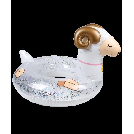 Bouée Gonflable Ronde XXL pour Piscine & Plage Ultra Confort, Flotteur Deluxe - Mouton A Paillettes ø115cm