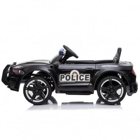 Voiture de Police Electrique GT-911 20W avec Système Audio, Mégaphone, Indicateur de Batterie et Télécommande Parentale