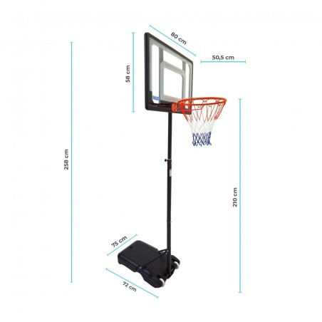 """Panier de Basket sur Pied Mobile """"Orlando"""" Hauteur Réglable de 1.6m à 2.10m"""