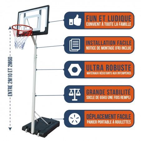 """Panier de Basket sur Pied Mobile """"Charlotte"""" Hauteur Réglable de 2.1m a 2.6m"""