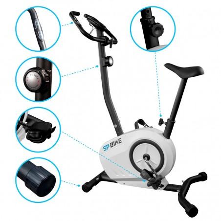Vélo de Fitness compact SP-Bike - Roue inertie 5Kg - 8 niveaux de résistence, Capteurs Pouls, Ecran d'entraînement, Réglable