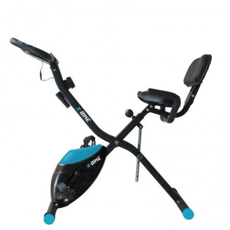 Vélo d'appartement compact et pliable X-Bike - Roue inertie 2Kg - 10 niveaux de résistence, Ecran d'entraînement, Réglable