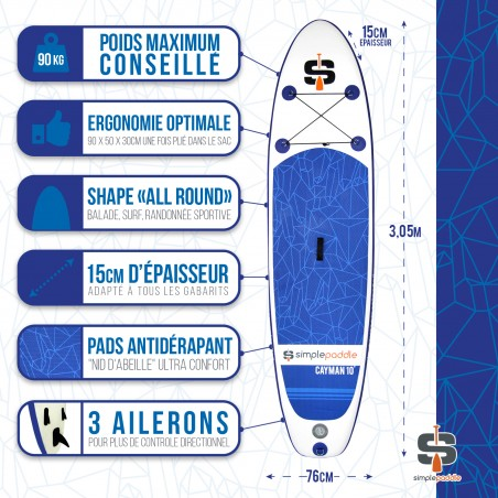 Stand Up Paddle Gonflable 10' CAYMAN Bleu
