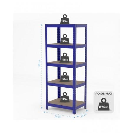 Étagère de rangement polyvalente en métal - Charge lourde Max 875kg - 180 X 60 X 45 cm - Bleu