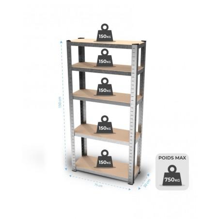 Étagère de rangement polyvalente en métal - Charge lourde Max 750kg - 150 X 75 X 30 cm - Gris
